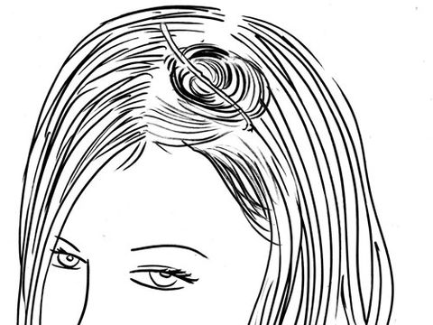 Immediately roll the just-curled section around your finger, and secure it to your scalp with a bobby pin. It's okay if it's messy or the end sticks out.
