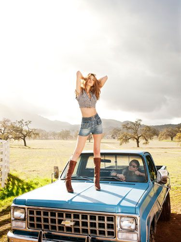 <p><strong>Update Your Daisy Dukes</strong>: Toss those cutoffs, and opt for a high-waisted pair with sewn edges.</p> <p><strong>(On her) top, Guess, $49; shorts, Bebe, $99; boots, D&G; duck charm necklace, Lulu Rae; heart charm necklace, Emily Elizabeth Jewelry, $110.</strong></p> <p><strong>(On him) jacket, What Goes Around Comes Around, $198; sunglasses, Ray-Ban; bracelets, J.Crew</strong></p>