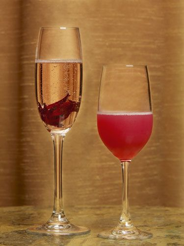 <p>2 oz. white rum<br /> ½ oz. St-Germain (at most liquor stores) <br /> 1 Tbsp. strawberry jam<br /> Champagne for float</p>  <p>In a mixing glass, combine all ingredients except champagne.  Shake and strain into a champagne glass, then top with a splash of bubbles.  </p>