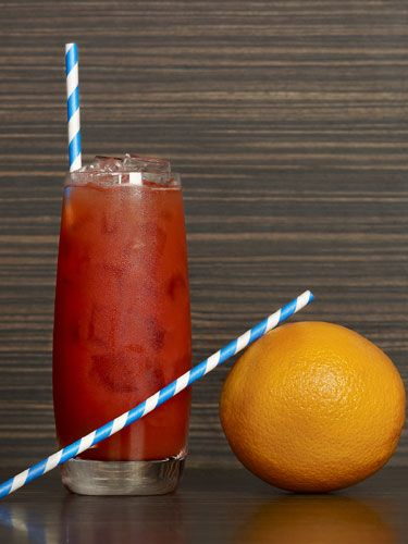 <p>2 oz. silver tequila (Make sure it's silver since gold tequila tastes different) <br /> 1 ½ oz. blood orange puree<br /> ½ oz. pear liqueur<br /> 2 cashes blood orange bitters (at liquor stores; if you can't find blood orange bitters, regular bitters will do) <br /> Edible candy straw (or a Twizzler) </p>  <p>In a mixing glass, combine all ingredients and shake. Strain into a highball and garnish with candy straw. </p>  <p>SOURCE: The Empire Hotel</p>