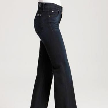 "<b>What To Look For:</b> If you are an hourglass, a classic, wide-legged trouser with a mid-rise and flat front will keep you looking slim in all the right places—but still show off your sexy curves. <br /><br /> 7 For All Mankind High Waist Slim Denim Trouser in Atlantic Twilight Wash, $169, <a href=""http://www1.bloomingdales.com/catalog/product/index.ognc?ID=514615&PseudoCat=se-xx-xx-xx.esn_results""target=""_blank"">www1.bloomingdales.com</a>"