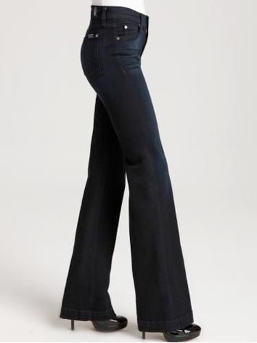 """<b>What To Look For:</b> If you are an hourglass, a classic, wide-legged trouser with a mid-rise and flat front will keep you looking slim in all the right places—but still show off your sexy curves. <br /><br /> 7 For All Mankind High Waist Slim Denim Trouser in Atlantic Twilight Wash, $169, <a href=""""http://www1.bloomingdales.com/catalog/product/index.ognc?ID=514615&PseudoCat=se-xx-xx-xx.esn_results""""target=""""_blank"""">www1.bloomingdales.com</a>"""