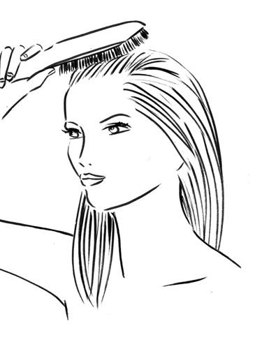 Use a paddle brush to remove any tangles, then comb your hair straight back so that you don't have a part.