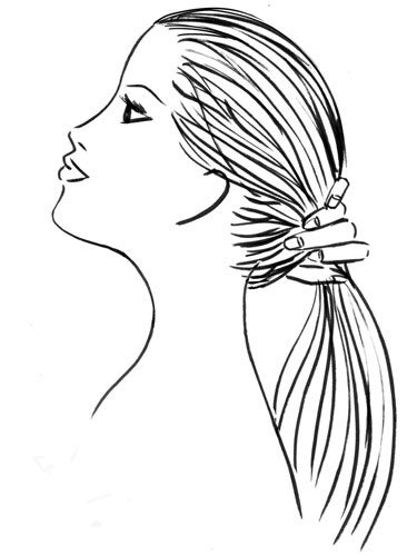 Now tip your head back, and gather strands into a ponytail. Leaning creates volume plus prevents part lines and bumps.