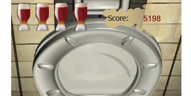 """They should've just named this game iPenis. He maneuvers his phone to aim a stream of """"pee"""" into the on-screen toilet — the more virtual drinks he has, the harder it is to control his spray. Game over when he misses the target.<br /> iTunes, <a href=""""http://itunes.apple.com/us/app/drunk-sniper/id313405835?mt=8"""" target=""""_blank"""">$0.99</a>"""