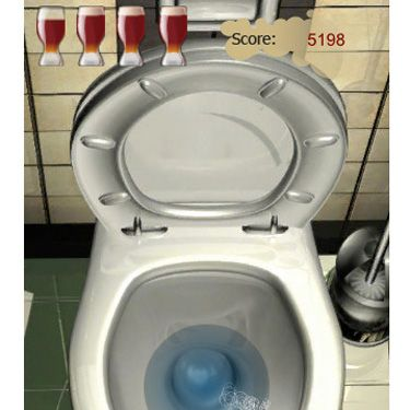 """They should've just named this game iPenis. He maneuvers his phone to aim a stream of """"pee"""" into the on-screen toilet — the more virtual drinks he has, the harder it is to control his spray. Game over when he misses the target.<br />iTunes, <a href=""""http://itunes.apple.com/us/app/drunk-sniper/id313405835?mt=8"""" target=""""_blank"""">$0.99</a>"""