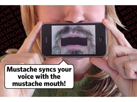 "After selecting a style from the 'stache menu, he holds his iPhone in front of his mouth with the screen facing away from him, and the mustache on the screen syncs up with his voice. Especially disturbing: the ""Pencil"" — think the thin black line above Gomez Addams' upper lip. <br /> iTunes, <a href=""http://itunes.apple.com/us/app/mustache/id294534763?mt=8"" target=""_blank"">$0.99</a>"