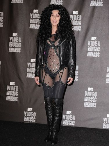 """As much as we think it's cool that she still has the body to rock such a sheer bodysuit, we didn't even like this outfit when she wore it in her """"If I Could Turn Back Time"""" video two decades ago."""