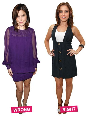 The purple dress blouses over midthigh, visually adding inches. The jumper's A-line hem makes Sophia Bush's legs look narrow in comparison.