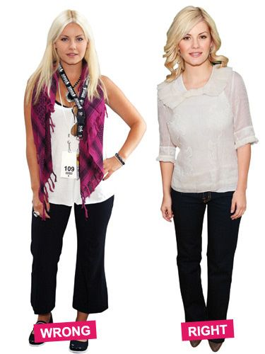 Boxy capris and flats give the illusion of short, thick legs. Long, dark jeans with heels elongate Elisha Cuthbert's frame and hide curvy thighs.