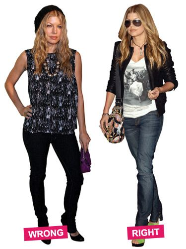 The tank hits at the widest part of Fergie's thigh — eek! A shorter tee and looser, straight-leg jeans streamline her figure.