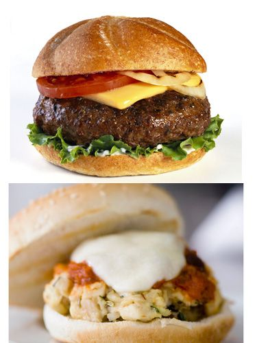 <p><strong>DITCH:</strong> Beef cheeseburger (600 calories; 20 grams fat)<br /> <strong>DEVOUR:</strong> Turkey cheeseburger (350 calories; 8 grams fat)</p> <p>Ground beef has lots of fat, but lean ground turkey, not much. And using a low-fat American or cheddar slice cuts even more calories.</p>