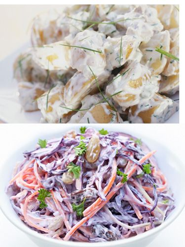 <p><strong>DITCH:</strong> Potato salad (225 calories; 14 grams fat in ¾ cup)<br /> <strong>DEVOUR:</strong> Coleslaw (147 calories; 11 grams fat in ¾ cup)</p> <p>Coleslaw lacks the starchy calories in potatoes yet satisfies comfort-food cravings.</p>