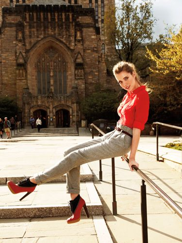 <p>We never thought we'd call boat shoes sexy…until these retro kicks got a flirty update with super-high heels.</p>  <p><strong>Blouse, $248, pants, $248,  belt, $128, and boots, $298, Tommy Hilfiger</strong></p>