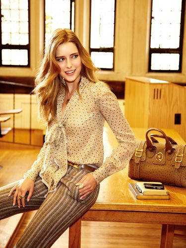<p>Balance out masculine pants with  a sheer, girlie blouse for an effect  that's as sensual as it is elegant.</p> <p><strong>Blouse, $650, and  pants, $695, Marc  Jacobs; belt, $295, and  bag, Gucci; necklace,  Emily & Ashley; ring (on  left hand), Jewels of  Ocean; ring (on right  hand), Helen Ficalora;  journal, $82, desk diary,  $89, and pen, $40, Graphic Image</strong></p>