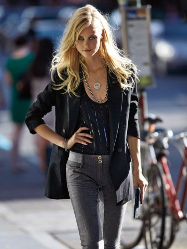 """<p>Hot date after work? Tweed pants in a second-skin fit transition seamlessly from day to night.</p>  <p><strong>Jacket, Reiss, $365;  tank top, Splendid,  $63; leggings, United  Colors of Benetton,  $79; clutch, Anya  Hindmarch, $395;  pendant, Renee  Lewis Jewelry;   necklace, Stella &  Dot, $69; bracelets,  Jennifer Miller Jewelry</strong></p>  <p><strong>Beauty tip:</strong> The next morning, give hair a shot of body and shine with a spritz of <a href=""""http://www.cvs.com/CVSApp/catalog/shop_product_detail.jsp?skuId=730542&productId=730542&WT.mc_id=Shopping_Feed_Products_Google_Free_Listing"""" target=""""_blank"""">Tresemmé Fresh Start Refreshing Mist</a>, $5.</p>"""