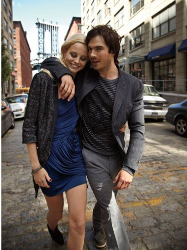 <p>Layer a glittery menswear-inspired coat  over a sexy dress for a vibe that's as edgy as it is glam.</p>  <strong>(On her) jacket,  Rebecca Minkoff,  $395; dress, Bebe,  $149; boots,  Giuseppe Zanotti  Design; earrings,  Nine West, $36;  snake bracelet,  Borgioni; bangle,   Roni Blanshay for  Jennifer Miller  Jewelry.<br />  (On him) blazer,   John Varvatos;   sweater, Zadig &  Voltaire; pants, Hugo  Boss; boots, Red Wing</strong>