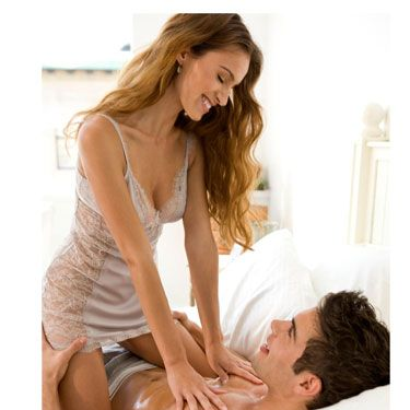 Drag your nails down his back, scratch his chest, and dig those talons into his butt. Studies have found that the threshold for pain is higher during arousal, and a little bit of roughness can even intensify his climax.