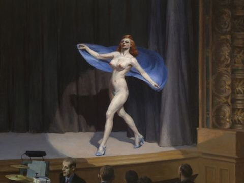 """Hopper is said to have painted this after attending a burlesque show. And rumor is that Madonna's world tour for her <i>Erotica</i> album, also called """"Girlie Show"""", was inspired by this painting."""