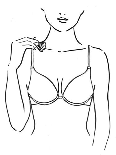 Now brush the light bronzer down the middle of your cleavage. The shade will catch light and create depth in your crease, making cups look fuller. Sweep it across your collarbone too. The shimmer draws the eye up, so boobs seem to sit higher.