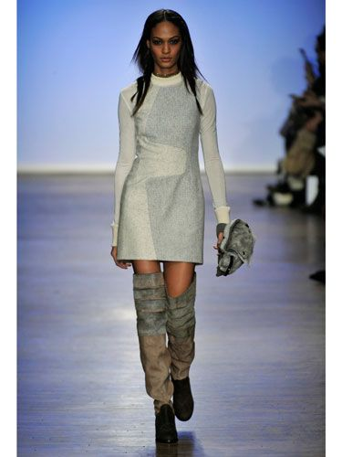 How to wear white in the winter? Pair it with over-the-knee boots and a hell of a lot of confidence.