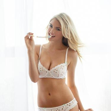 """This fabric first because popular because Queen Victoria was a big fan. While this set is probably sexier than Queen V. would have worn, we think Kate's just the girl to rock it.<br /><br /> Tremblant Bra, $75, and Thong, $44, <a href=""""http://www.jennaleighlingerie.com/tremblant-unlined-balconet-bra-8550.html""""target=""""_blank"""">jennaleighlingerie.com</a>"""
