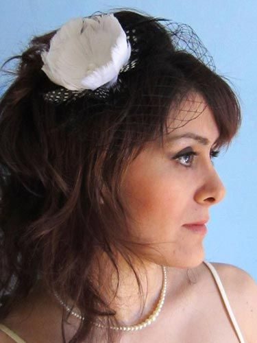 "This one's a little retro—we love the polka-dotted feather accent.  <br /><br /> Classic tulip feather fascinator with black French netting, $16, Etsy, <a href=""http://www.etsy.com/listing/65593050/2-items-classic-tulip-feather-facinator""target=""_blank"">etsy.com</a>"