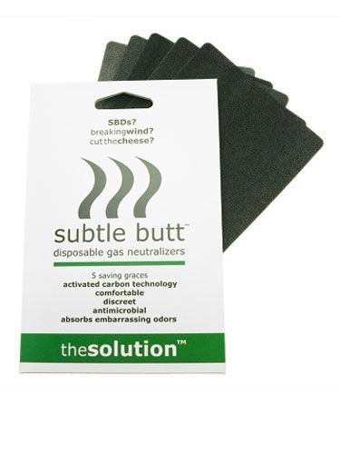 "Trying not to break wind in a meeting or on a date is tricky: Do you excuse yourself to the rest room or clench your cheeks and hold it in? Well, the people behind this product think they have a better solution. ""Subtle Butt"" is a disposable, ""fart neutralizing"" pad — made with odor-diffusing carbon — that you slip into your undies when your digestive system threatens to stank up the room. What about any noise an explosion may make? We guess you're just supposed pray your gas is the silent but deadly variety.<br />$11.95 for 5 pieces, <a href=""http://solutionsthatstick.com/subtle-butt-5-pieces-8"" target=""_blank"">solutionsthatstick.com</a>"
