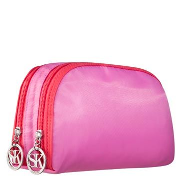 This double-zip pouch can hold everything you need—plus, the two-tone is very hot right now.