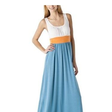 The turquoise, orange and white color-blocking is surprisingly flattering on every body shape—and the color combo rocks! 
