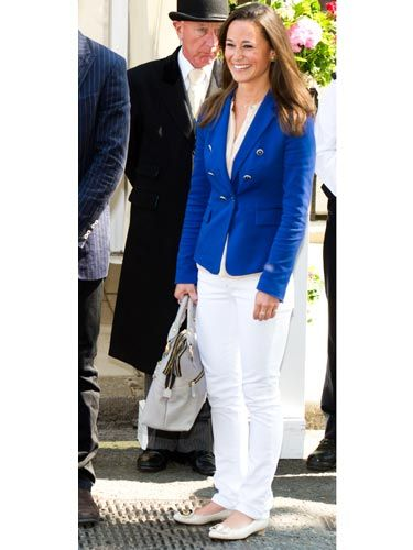 "The day after the <a href=""http://www.cosmopolitan.com/advice/tips/kate-middleton-prince-william-wedding"">Royal Wedding</a>, Pippa looked perfectly pulled together in a blue blazer (from Zara!) and white pants."