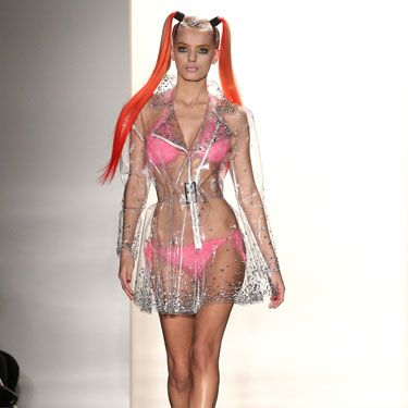Ugh, don't you hate when it pours and you're forced to wear a raincoat that covers your pink bikini?