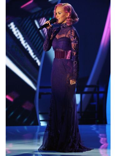 "The pop star made a few costume changes during the show, but this pretty, purple lacy number got your vote on Twitter. (<a href=""http://twitter.com/#!/cosmoonline""target=""_blank"">@CosmoOnline</a>)"