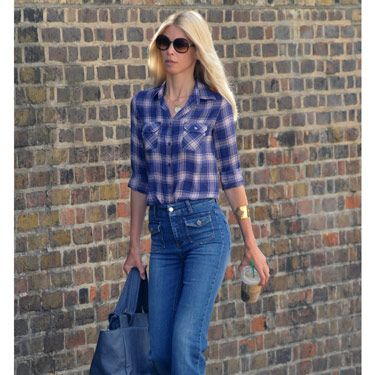 <b>Tip:</b> Wide-leg jeans have been huge all summer—fortunately, they transition easily into fall. Pair them with a plaid top for even more '70s flair. 