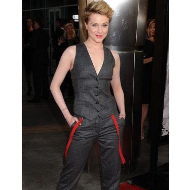 "Evan Rachel Wood gave off a sexy-androgynous vibe with <a href=""http://www.cosmopolitan.com/hairstyles-beauty/beauty-blog/evan-rachel-wood-haircut-062211"">her new, shorter tresses</a> and a Dolce & Gabbana outfit—far less girly than what her character, Queen Sophie-Anne, would have worn."
