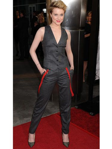 """Evan Rachel Wood gave off a sexy-androgynous vibe with <a href=""""http://www.cosmopolitan.com/hairstyles-beauty/beauty-blog/evan-rachel-wood-haircut-062211"""">her new, shorter tresses</a> and a Dolce & Gabbana outfit—far less girly than what her character, Queen Sophie-Anne, would have worn."""