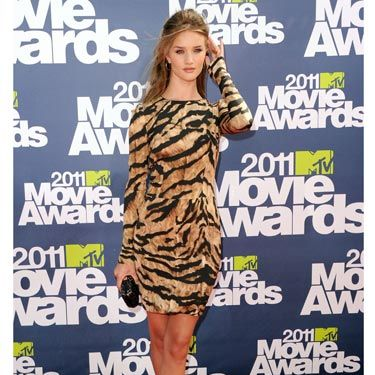 "Insanely-hot <a href=""http://www.cosmopolitan.com/hairstyles-beauty/celebrity-hair/rosie-huntington-whiteley-pictures"">Rosie Huntington-Whiteley</a> looked fierce in Dolce & Gabbana tiger stripes.