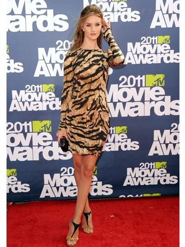 """Insanely-hot <a href=""""http://www.cosmopolitan.com/hairstyles-beauty/celebrity-hair/rosie-huntington-whiteley-pictures"""">Rosie Huntington-Whiteley</a> looked fierce in Dolce & Gabbana tiger stripes. <br /><br /> <b>Look-Sexy Tip:</b> Choose toned-down accessories to keep the style glam instead of over the top."""