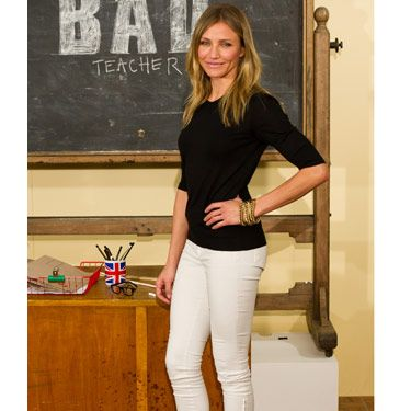 A great-fitting pair of white jeans is a summer staple. You can wear them with simple styles, like Cameron Diaz's black tee, feminine, floral tops, or bright tunics. Plus, they look great with every heel height from towering stilettos to basic flats.