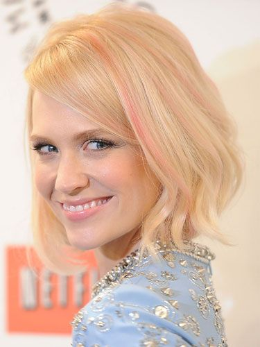 <p>We've got a girl crush on this <em>Mad Men</em> star who took a beauty risk and dyed her strands a subtle, pink shade. The barely there bubblegum hue is the antethesis of anything her on-screen character, Betty Francis, would wear in her hair, which makes us love January even more.</p>