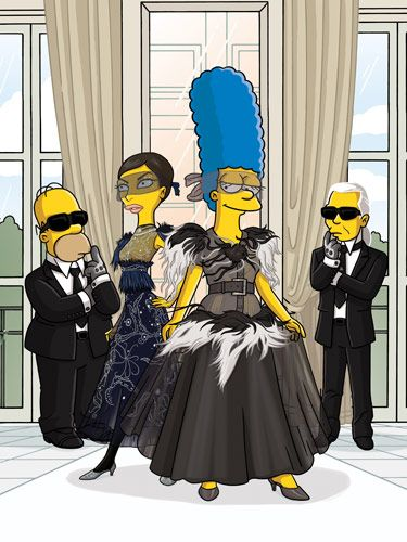Illustrated for the August 2007 issue by Julius Preite. Winner of a <em>Folio</em> Ozzie Award for Best Use of Illustration. Bazaar took the Simpsons to Paris in honor of their feature-film debut. With help from Linda Evangelista, Marge was fitted by Karl Lagerfeld.