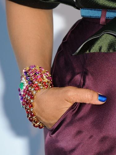 The singer looked awesome in head-to-toe jewel tones. We love the way this gorge bracelet plays off her nail polish.
