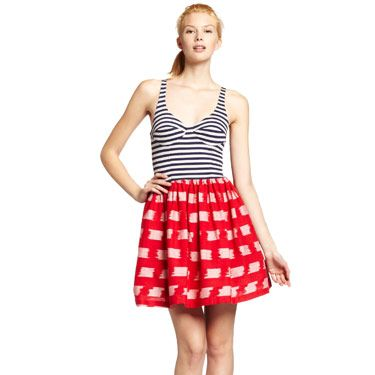 If you want to be the cutest girl at the cookout, opt for a dress like this one: We love the mixed prints, the red, white and blue color scheme isn't too overt, and the cut is flattering in a sexy way.
