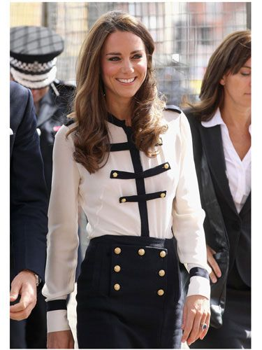 <i>Aaaand</i> cue the knock-offs and subsequent sell-outs of this matching pencil skirt and blouse, designed by Sarah Burton, the woman behind the Duchess's infamous wedding gown.