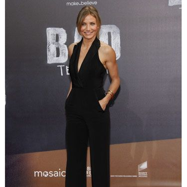 Of course black is always a good choice: It's slimming and sophisticated. Cameron Diaz's halter version is perfect for showing off toned shoulders.