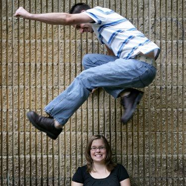 We can't even begin to imagine the acrobatics he's capable of in the bedroom. Lucky lady.