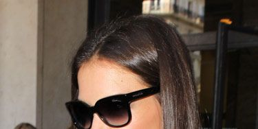 A wide, angular pair—like the ones Katie Holmes is sporting—is great if your style is tailored and ladylike. The two-toned lenses make these cool.