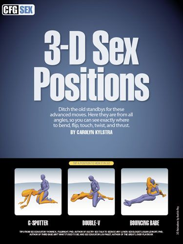 Move over, <em>Kama Sutra</em>, there's a new sex position guide in town. Take our Cosmo-approved sex positions for a spin—on your iPad. Tap the screen to see naughty flesh pretzels rendered in three-dimensions, then twirl them around to see—<em>from every angle</em>—where to put your hands, feet, knees, elbows, and naughty bits.