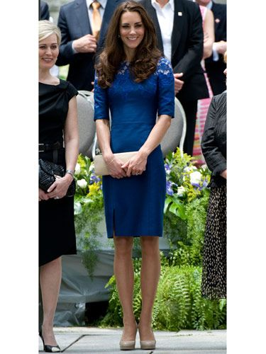 Kate wore this <i>royal</i> blue lace cocktail dress by Canadian designer Erdem to an event at City Hall in Quebec.
