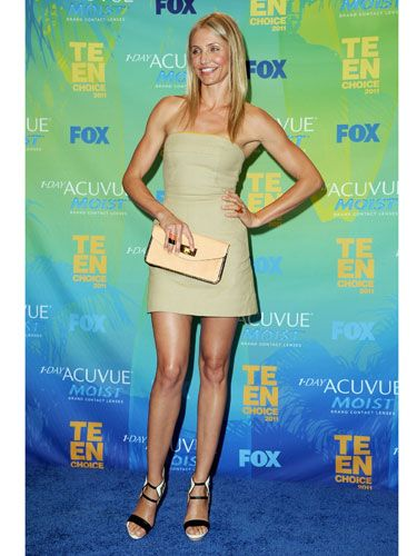 Cameron's style is always classic yet sexy—here, she opted for a simple ALC dress and let her awesome Burakuyan shoes be the focus.